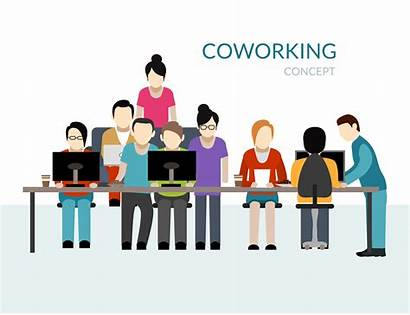 Coworking Vector Concept Center Working Illustration Spaces
