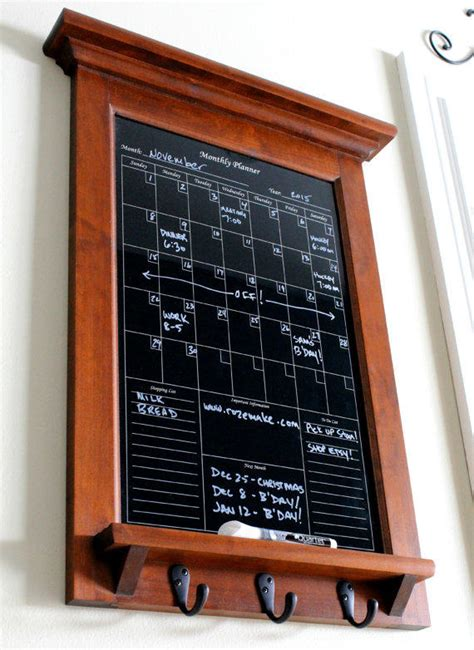 kitchen calendar organizer wall decor hardwood maple with black from rozemake on etsy 3307