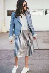 Silver Pleated Skirt Outfit