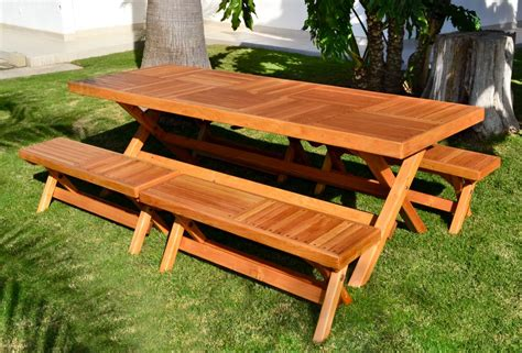 Custom Folding Rectangular Picnic Table & Benches, Made In