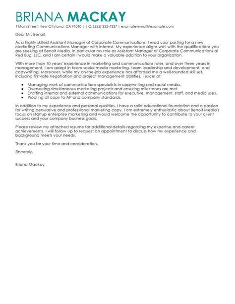 assistant manager cover letter examples management cover