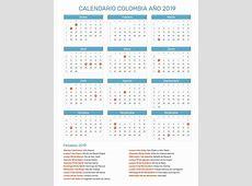 Calendario de Colombia con feriados nacionales año 2019