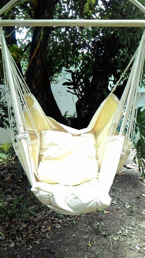 beige canvas hammock chair with pillows heavenly hammocks