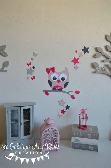 stickers hibou chambre bébé stickers hibou étoiles papillon poudré fuchsia