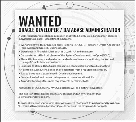 oracle developer and database administrator in