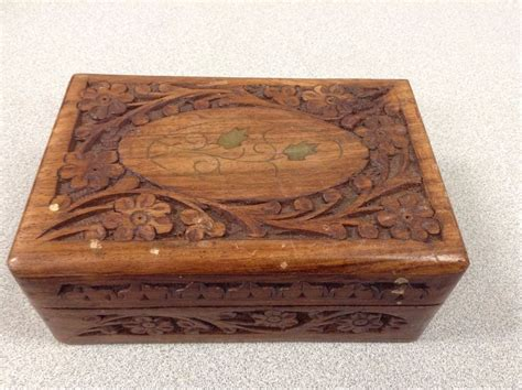 ebay uk antique ls carved wooden box from india with floral inlay