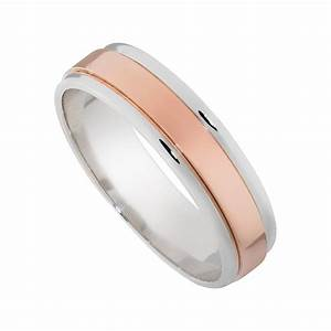14K Rose and White Gold 6mm Mens Wedding Band - Mullen ...