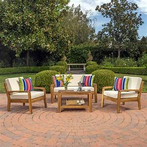 Parma, 4, Piece, Outdoor, Wood, Patio, Furniture, Chat, Set, With, Water, Resistant, Cushions, Beige