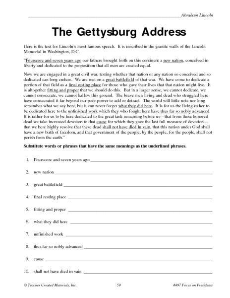 the gettysburg address worksheet lesson planet house