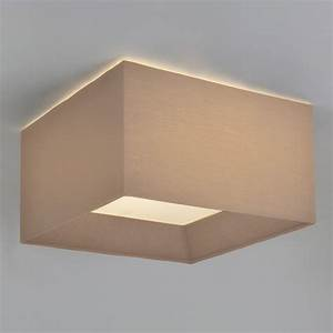 Oyster silk flush ceiling light square fitting shade for low ceilings