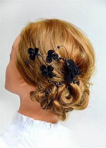 Floral Headpiece Bridal Hair Clip Black Headpiece Wedding