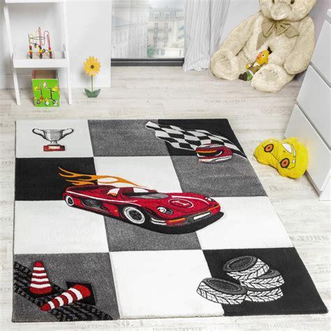 Kinderzimmer Teppich Auto Design Konturenschnitt Grau