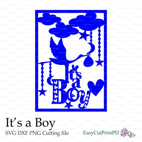 13 templates free birthday card template svg in interview resume. New Baby It's a Boy card paper cut svg dxf eps png