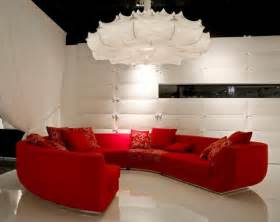 red sofa in living room design interior idea by marcel
