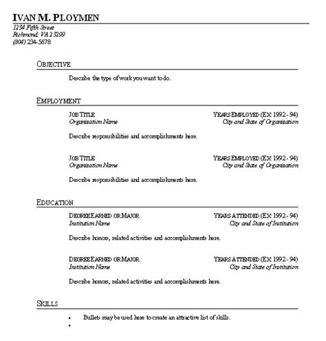 How To Fill Out Work Experience On A Resume by Sle Resume Format Resume Form To Fill In The Blank