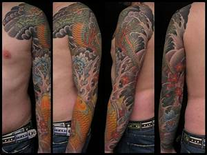 Drachen Tattoo Oberarm : dragon koi arm sleeve checker demon tattoos stuttgart dragon sleeve tattoos arm tattoos ~ Frokenaadalensverden.com Haus und Dekorationen