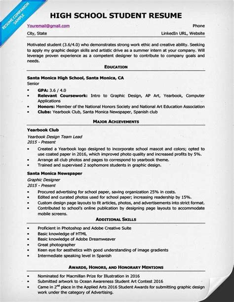 Resume High School by Resume Format For High School Students 1 Resume Exles