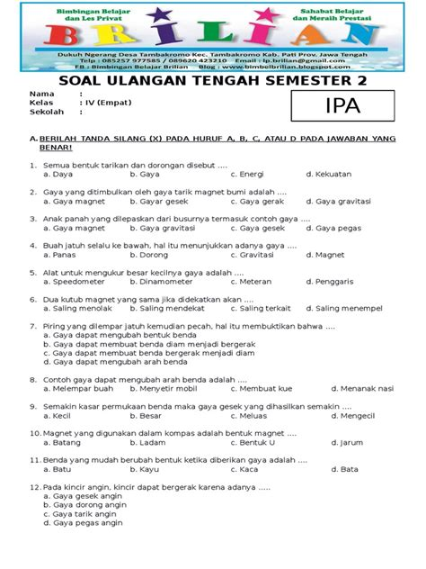 Contoh soal bahasa indonesia kelas 7 semester 1 dan semester 2 kurikulum 2013 untuk kisi kisi latihan soal uas mid semester berupa soal pilihan ganda dan essay semua bab 1, 2, 3, 4, 5, 6, 7 dst beserta kunci jawabannya dan pembahasannya lengkap. Soal UTS IPA Kelas 4 SD Semester 2 Dan Kunci Jawaban (Www ...