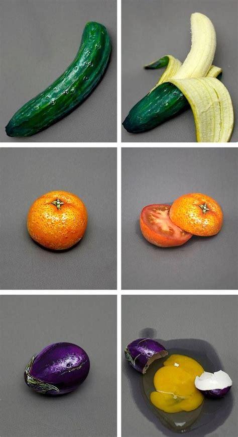 illusion fruit vegetables banana  cucumber tomato