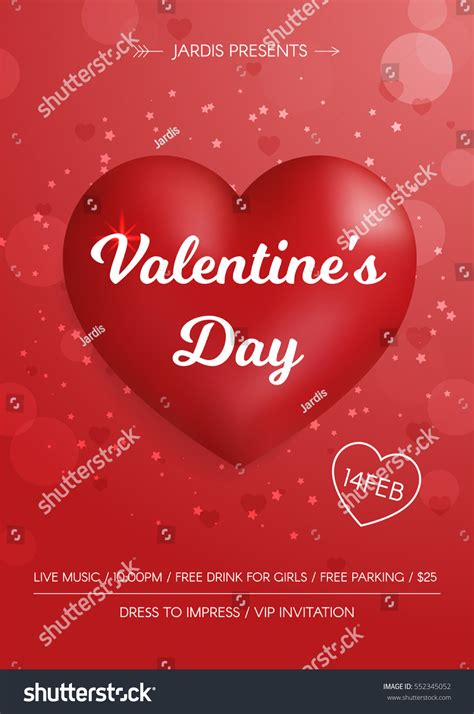 valentines day flyer  red hearts stock vector