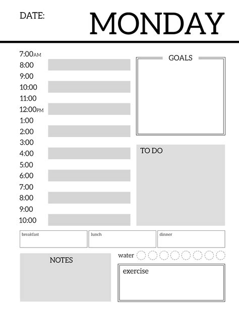 daily calendar template daily planner printable template sheets paper trail design
