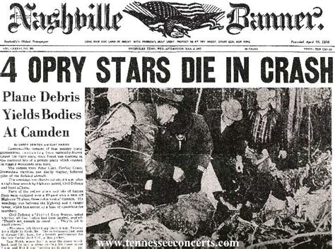 how did patsy cline die patsy cline plane crash in camden tennessee nashville newspaper