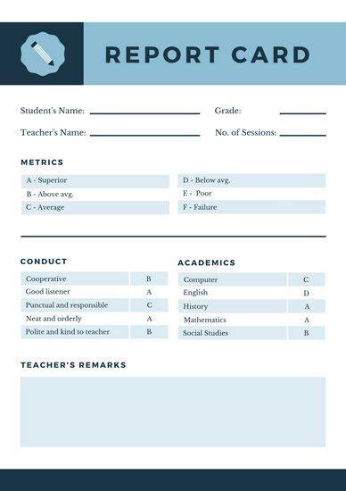 navy blue geometric homeschool report card templates