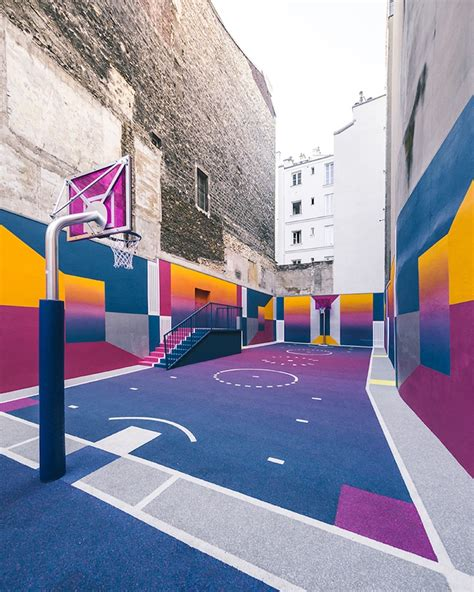 colorful basketball colorful basketball court pops up in thanks to pigalle