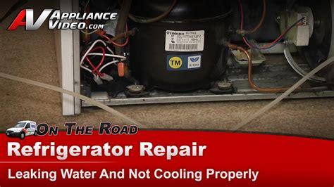 maytag refrigerator repair leaking water on floor not cooling properly
