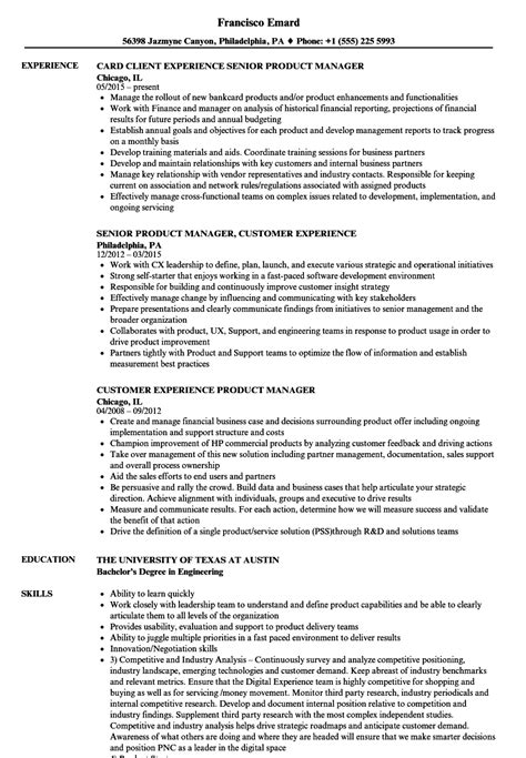 experience product manager resume sles velvet