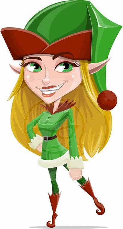 Elf Female Vector Elves Cartoon Christmas Character