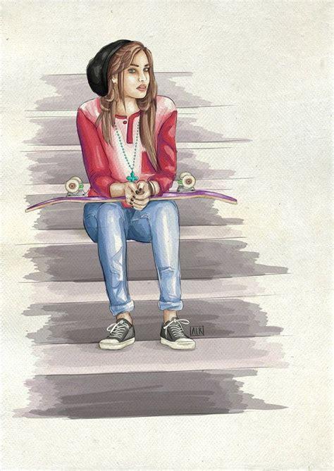 cute drawing girl skate skateboard drawings girl drawing art girl