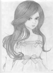 Cute Doll Sketch Drawing