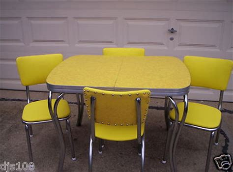 vintage 1950 s yellow cracked kitchen formica table