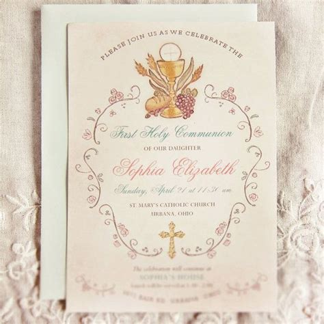 elegant  communion invitation religious  holy