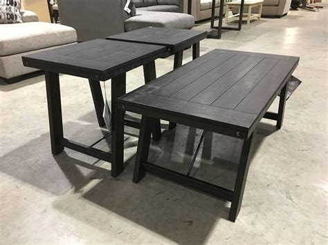 More details handcrafted coffee/cocktail table. 3 PCE CHARCOAL GREY COFFEE & END TABLE SET