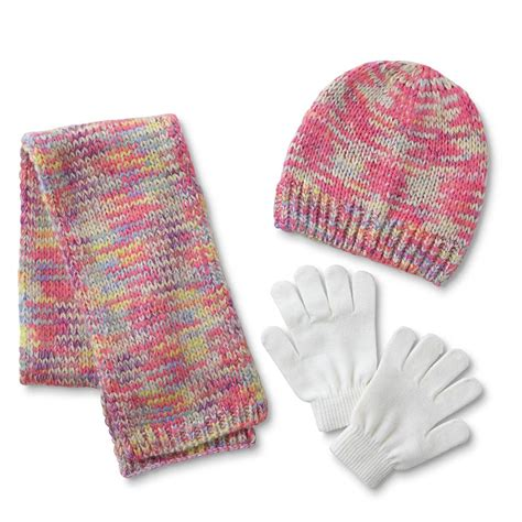 Athletech Girls' Hat, Scarf & Gloves multicolor with white ...