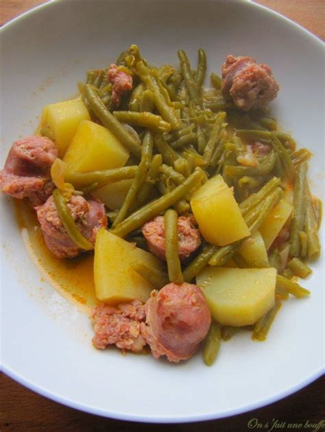 saucisses de toulouse aux haricots verts et pommes de