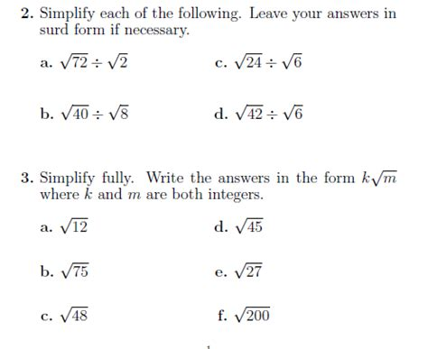 surds 2 a worksheet with questions on surds detailed