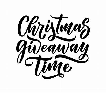 Giveaway Text Christmas Calligraphy Lettering Premium Vector