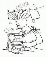 Coloring Clothes Pages Washing Colouring Para Easter Bunny Ables sketch template