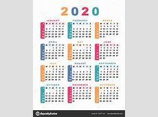 Calendário 2020 Semana Começa Com Domingo Ilustração