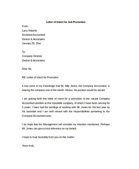 letter of intent for promotion letter of intent 15 free word pdf documents 22978   Letter of Intent For a job Promotion