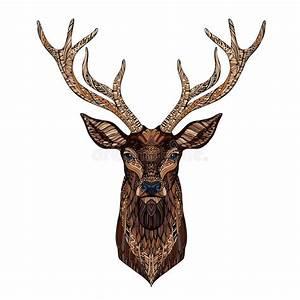 Deer Head Stylized In Zentangle Style. Stock Vector ...