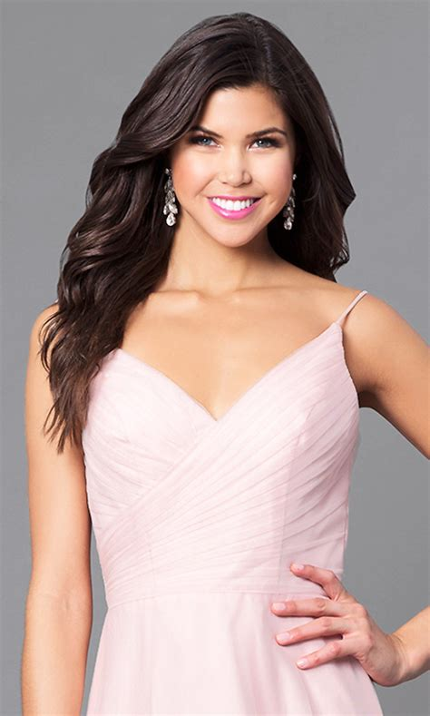 pink high low prom dress with ruched v neck promgirl