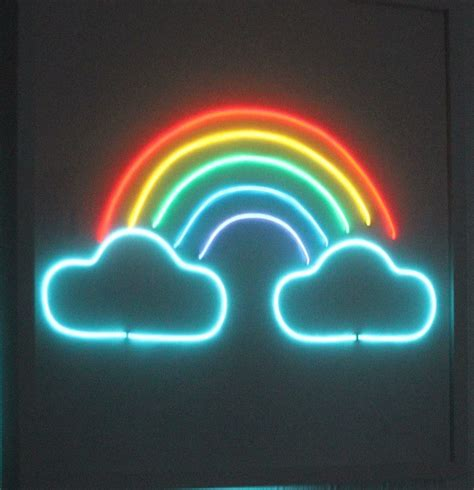 rainbow neon sign light lighting glow wall frame in