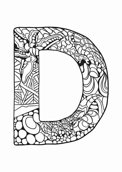 Coloring Letter Alphabet Zentangle Pages Printable Supercoloring
