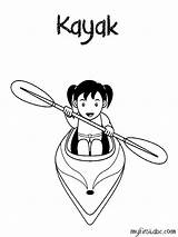 Kayak Coloring Pages Printable Getcolorings sketch template