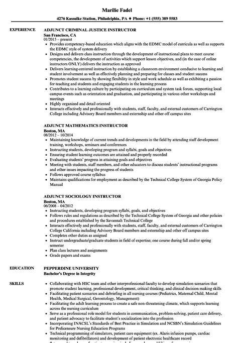 Sle Adjunct Professor Resume by Adjunct Resume Resume Ideas