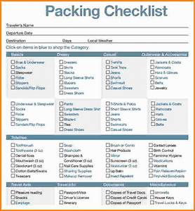 Cruise Packing List PDF And Excel Checklist